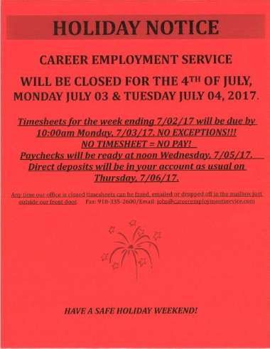 July 4th Holiday Notice image