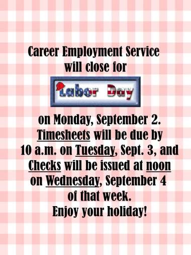 Labor Day Notice image