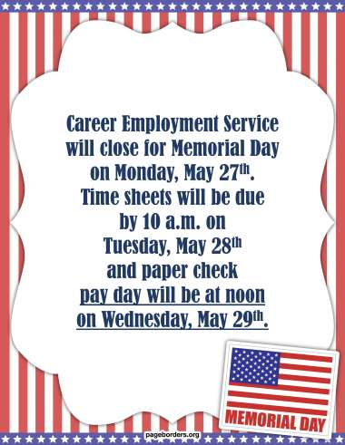 Memorial Day Notice image